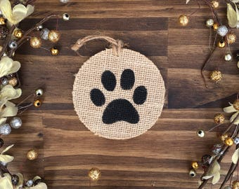 Burlap Paw Print Ornament