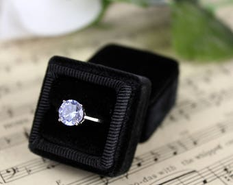 Ring Box Vintage Style in Tuxedo Black Vintage Velvet with Seamless top, Wedding Presentation Box For Pictures and Heirloom Rings