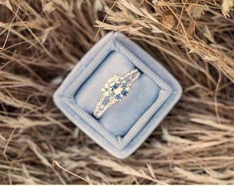 Ring Box Vintage Inspired Silver Dove Grey Velvet and Matching Ribbon Ring Box Perfect For Weddings