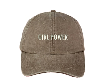 """GIRL POWER Washed Dad Hat, Embroidered """"Girl Power"""" Feminism Hat, Low Profile Girl Gang Feminist Baseball Cap Hat, Mississippi Mud"""