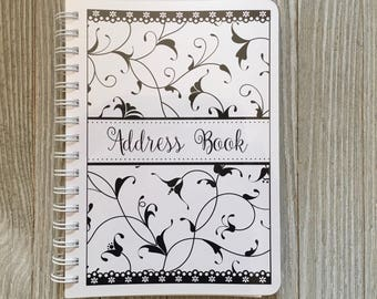 Address Book -Elegant Black and White Swirls Design