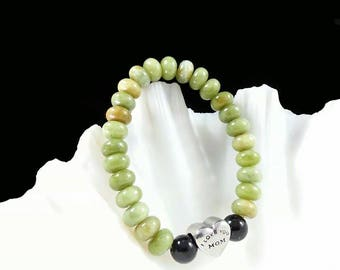 I Love You Mom Bracelet -Taiwan Jade & Black Obsidian Bracelet, 8mm, Rondelle Taiwan Jade, Gift for Mom, Jade for Mom, Bracelet for Mom