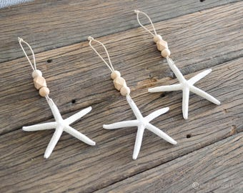 Set of 3 Starfish Wooden Wood Bead Christmas Baubles Boho Hamptons Home Decor Eco-Friendly Vegan Friendly Leather Handmade in Australia