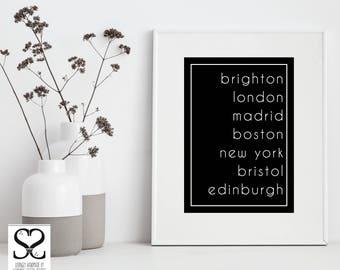 City Names Typography | Digital Download | Digital Art | Digital Prints | Typography Wall Art | Typography Print | Downloadable Prints