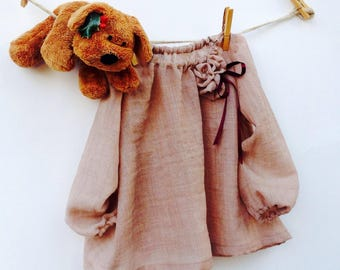 Girls ' long-sleeve tunic with rose-Cecibirbona girl