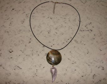 Round Ablona Shell Necklace With A Silver Angel Wing Pendant