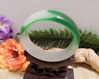 60mm Green Jade Bangle Bracelet Jewelry Crafts Supplies DIY Crafts Supplies Green White Jade