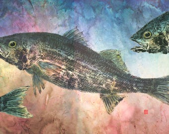 Gyotaku Print of Striped Bass