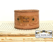 your words cuffs - hand stamped leather belt bracelet - leather cuff - light brown embossed - trees sun - rooted in faith