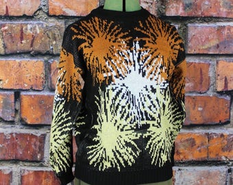 Vintage 1990s Fireworks Sweater with Metallic Gold Accents