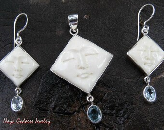 Sterling Silver 13/16 Inch Square Face Pendant + Earrings Jewelry Set with Blue Topaz - Free Silver Chain.