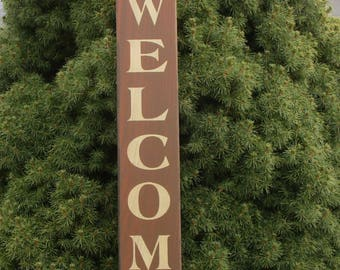 Vertical Welcome With Stars ~  Farmhouse, Rustic, Country, Primitive, Porch, Entryway, Living Room, Family Room,  Wood Sign.