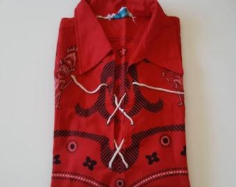 Vintage 1960s Red Tiki Print Mens Shirt by Display size L