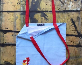 Shopping bag TOVAGLIOTA with embroidered Rooster, blue with red handles