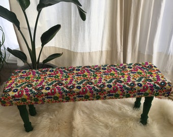 Embroidered colorful Bench