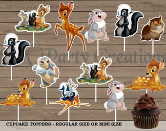 Bambi Cupcake Toppers, Die Cuts, Baby Shower/Birthday Party Cupcake Toppers