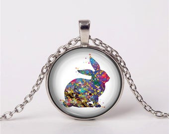 Bunny, Rabbit, Necklace, Pendant, Gift, Love, Jewelry, Special Gift, Love, For Her For Him, Anniversary Gift, Watercolor Print, Unique