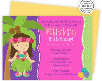 Luau Invitation, Hawaiian Invitations, Luau Birthday Invitation, Luau Party, Luau Party Invitations, Luau Invite, Luau Birthday, Luau   558