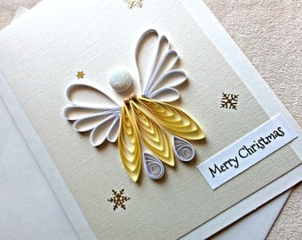 handmade paper quilled  Christmas card – Merry Christmas angel