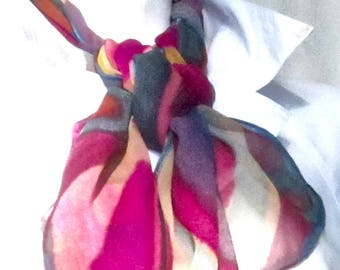 Multicolored chiffon scarf, hand painted.  Painted chiffon scarf in many colors. Large silk chiffon many-colored scarf.