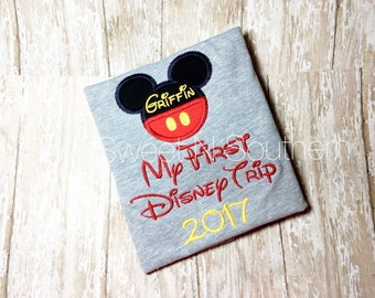 My First Disney trip Mickey Mouse inspired embroidered shirt, Disney vacation shirt, Mickey inspired first Disney trip shirt.