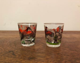 Two Mismatched Pheasant Hunting Shot Glasses by Hazel Atlas