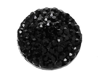stunning black resin cabochon in 12 mm crimp or craft - REF 1 B 45747