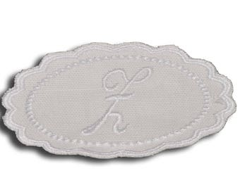 "Embroidery patch ""Letter Z"" Monogram white"