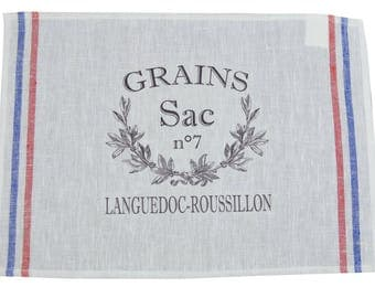 "Placemat 32x45cm in 100% linen white ""Seeds"""