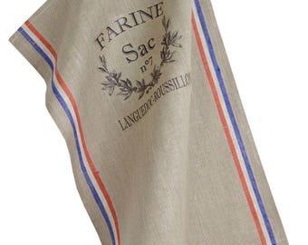 "Natural 45x70cm 100% linen Tea towel + transfer ""Flour"""