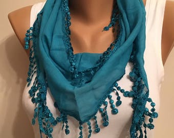 Mint Green Lace Fringed Scarf,Women Fashion,Gift,Summer Gift,Lace Trim Scarf,Birthday Gift,Light Cotton Scarf, Promotion, Gift for Her