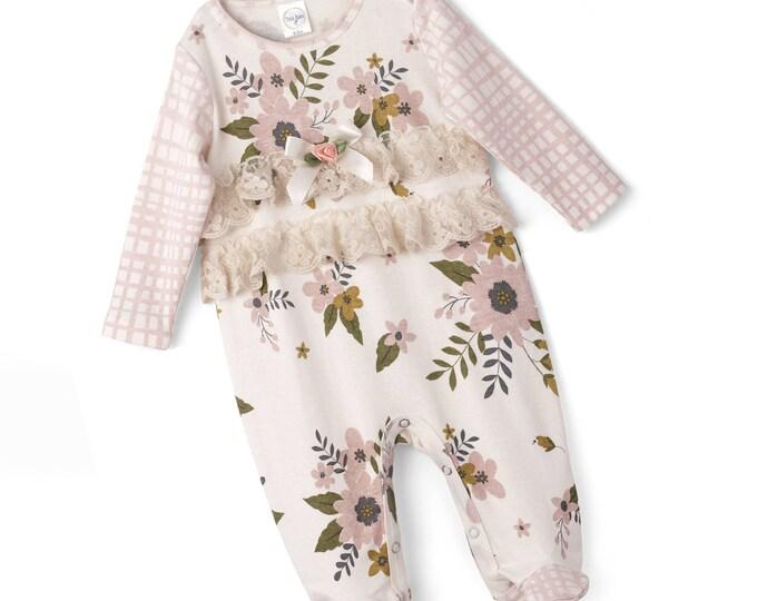 Baby Girl Romper, Newborn Girl Footie Romper, Baby Girl Onesie, Newborn Girl Footed Romper, Baby Girl Ruffles, Pink, Floral