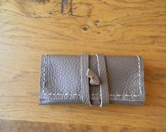CB leather pouch with Brown strap closure
