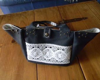 Designer Navy blue leather tote bag