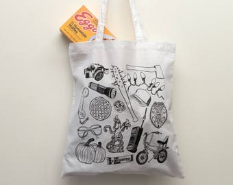 Stranger Things White Tote Bag, eleven, the upside down, shoulder bag, shopper, eggos, demogorgon