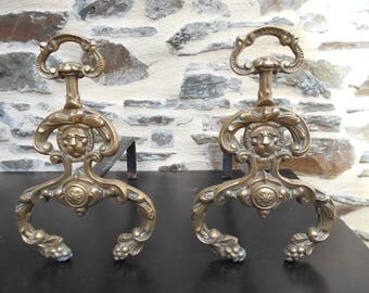 Antique French Bronze Fire Dogs/Andirons