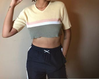 Vintage Crop Sweater Top
