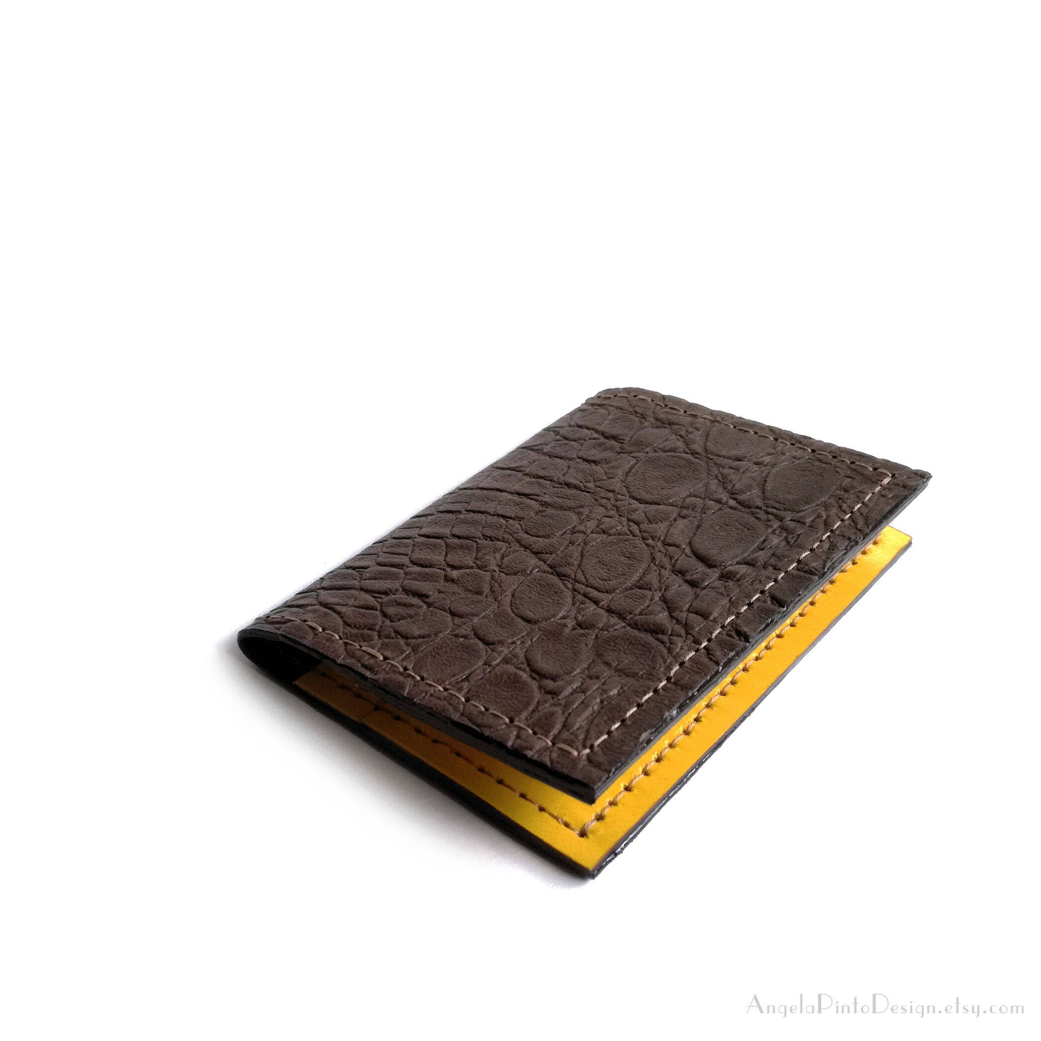 Brown Yellow Leather card holder. Card case for women. Brown Yellow ...
