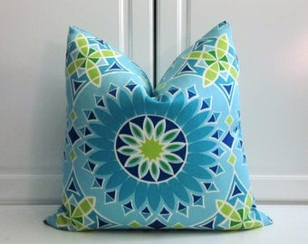 Trina Turk Decorative Pillow Cover-La Soleil-Turquoise-Indoor/Outdoor-18x18,20x20,22x22,24x24