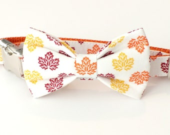 Autumn Leaves Dog Collar Bow Tie set with metal hardware, pet bow tie, collar bow tie, wedding bow tie