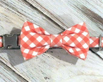 """SALE, Size Small 5/8"""" collar, small bow tie Orange Gingham Dog Collar Bow Tie set with metal hardware, collar bow tie, wedding bow tie"""