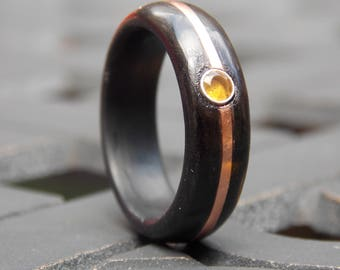 Fused Ebony wood with Copper and Citrine stone combined wood ring size 10 wood jewelry, unique  jewelry, OOAK mens ring, wood jewelry