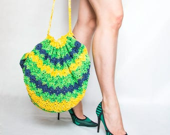 Hand woven bag, unique design, colorful and comfortable. Cheerful colors, cheeky combination, hand dyed.