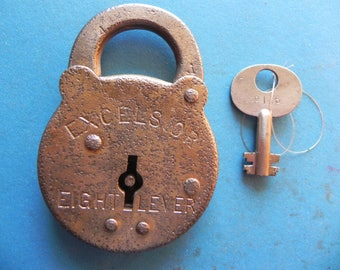 "Antique ""EXCELSIOR Eight Lever"" Padlock W/ Key."