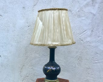 Vintage table lamp 19th century porcelain and bronze flowers