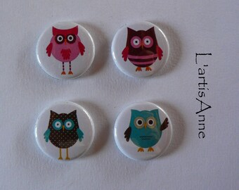 Set of 4 Mini Magnets magnets or Pinback button owls owls.