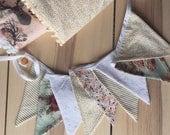 Bannière fanions REVERSIBLES tissus au choix 10' fête, décor chambre enfants