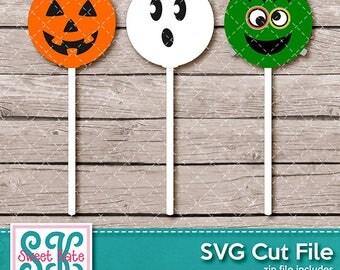 Halloween Suckers SVG dxf EPS png JPG htv Heat Transfer Vinyl Ghost Frankenstein Jack O'Lantern Cricut Silhouette Die Cut Sweet Kate Designs