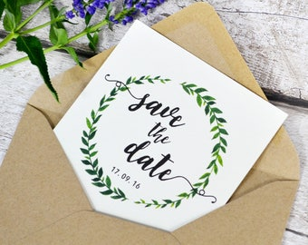 Botanical Band Save The Date | Simple Greenery Style Save The Date Card | Sample card