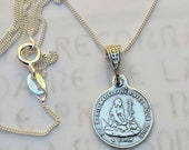 Necklace - Tiny Marie Madeleine a la Sainte-Baume - Sterling Silver - 14mm + 18 inch Sterling Silver Chain
